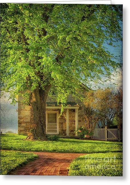 The Stone Cottage On A Spring Evening Greeting Card by Lois Bryan