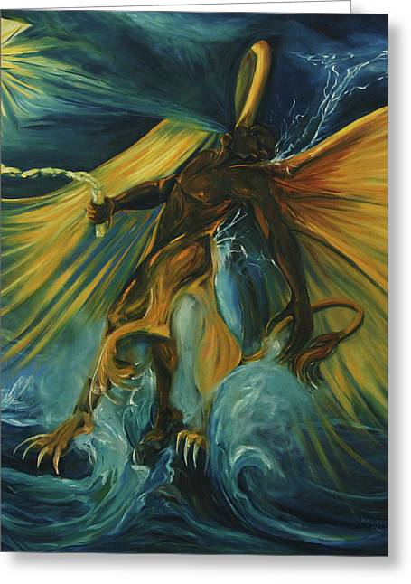 The Lightning Man Paintings Greeting Cards - The Storm Eater Greeting Card by Jennifer Christenson
