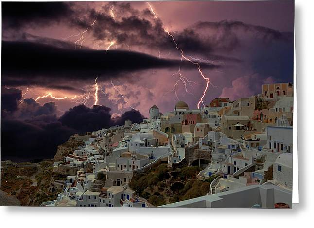 The Storm In Santorini Greeting Card by Yuri Hope