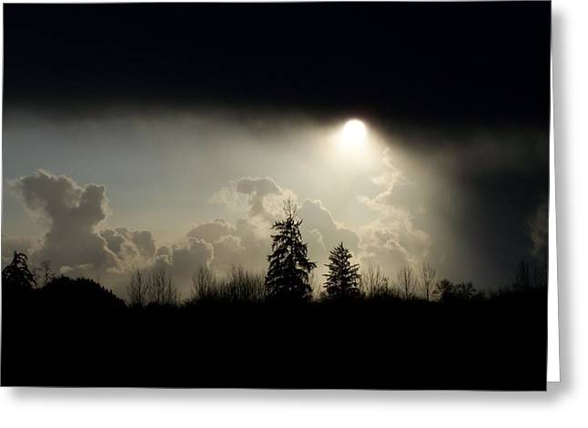 The Storm Looms Greeting Card by Laurie Kidd