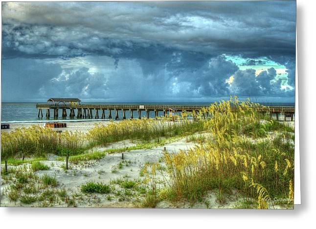 The Storm Tybee Island Pier Sea Oats Art Greeting Card by Reid Callaway