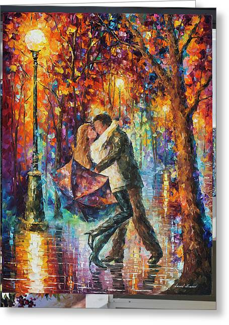 The Story Of The Umbrella Greeting Card by Leonid Afremov