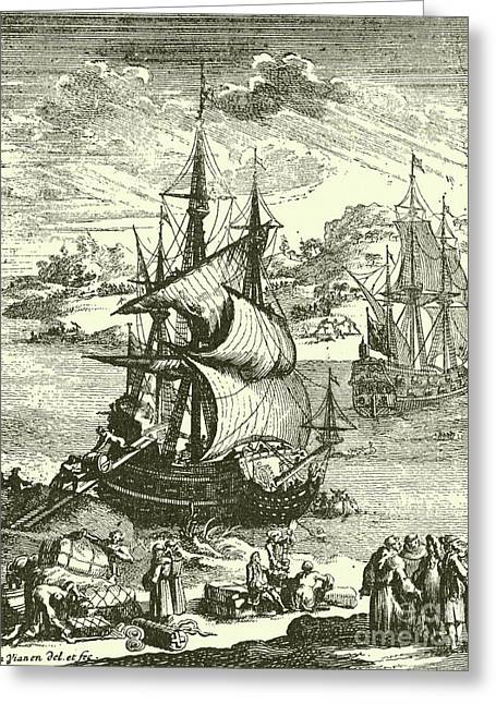 The Stranding Of The Aimable, Matagorda Bay, Texas, 1685 Greeting Card by French School
