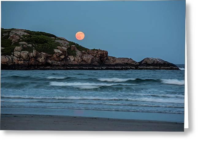 The Strawberry Moon Rising Over Good Harbor Beach Gloucester Ma Island Greeting Card