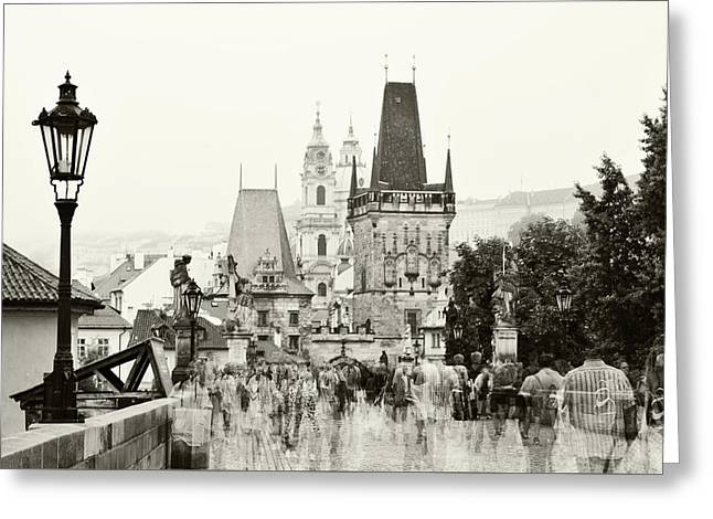 Greeting Card featuring the photograph The Stream Of People On Charles Bridge. Prague by Jenny Rainbow