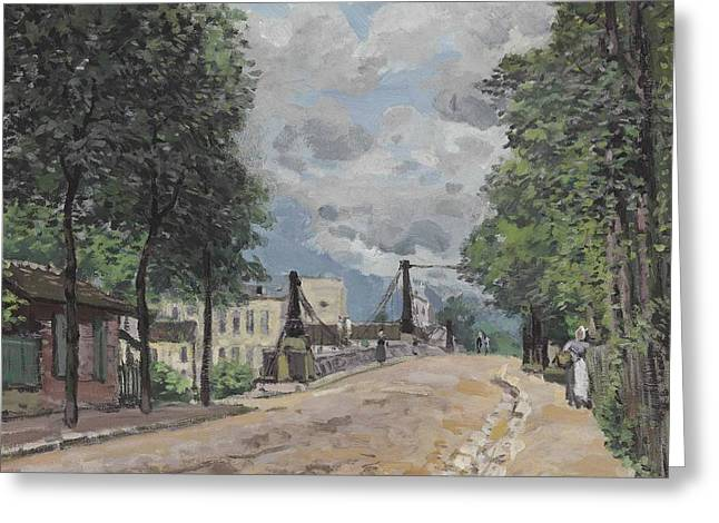 The Street At Gennevilliers Greeting Card