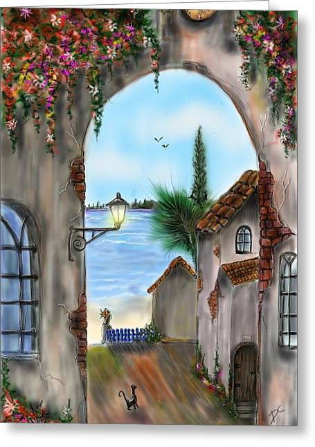 Greeting Card featuring the digital art The Street by Darren Cannell