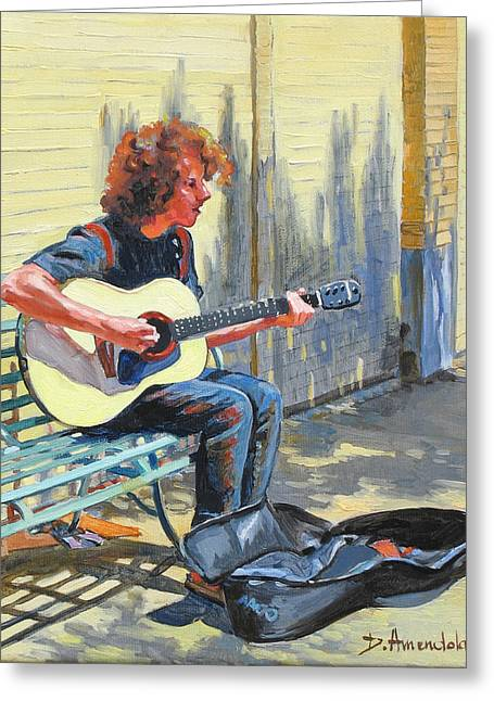 The Street Guitarist Greeting Card by Dominique Amendola