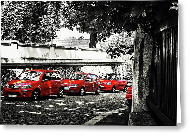 Greeting Card featuring the photograph The Street Of Red Cars by Jenny Rainbow