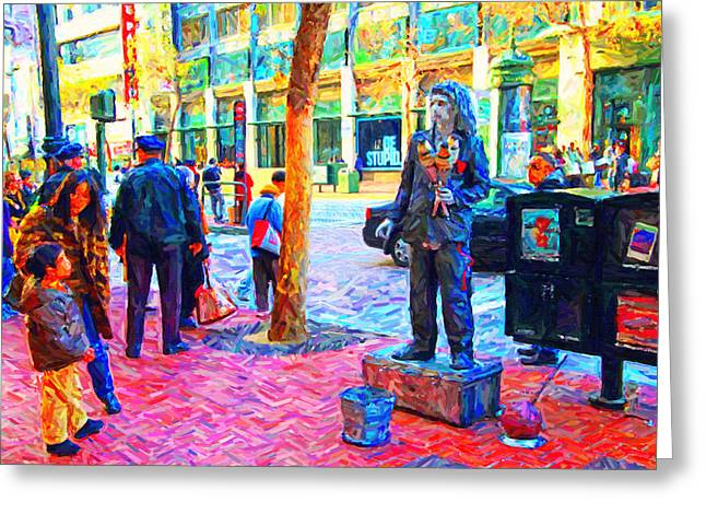 The Street Performer . Photo Artwork Greeting Card by Wingsdomain Art and Photography