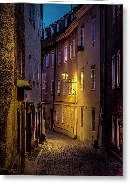 The Streets Of Salzburg Greeting Card by David Morefield