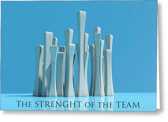 The Strenght Of The Team Greeting Card by Ignacio Leal Orozco