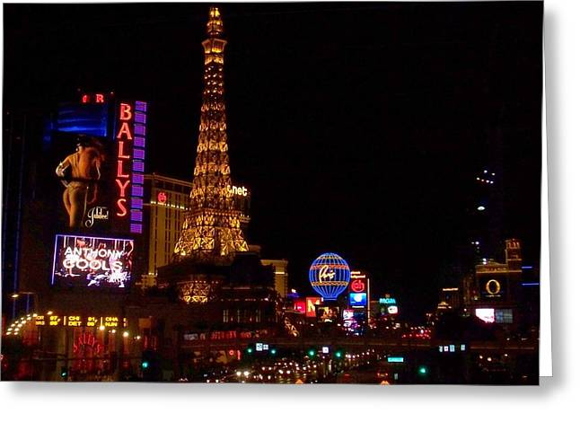 The Strip At Night 1 Greeting Card by Anita Burgermeister
