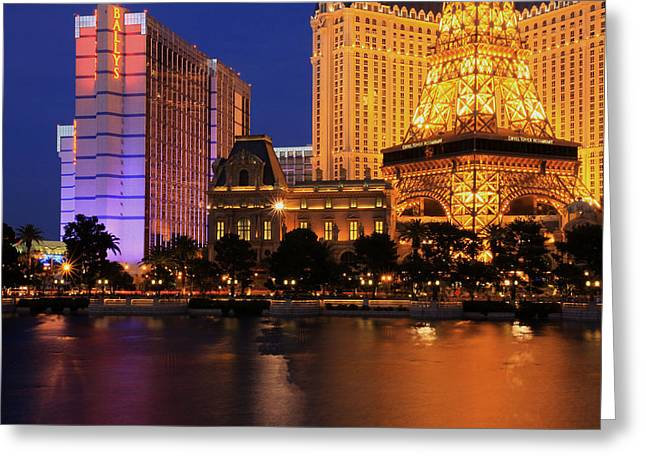 The Strip At Night 1 Greeting Card by Don MacCarthy
