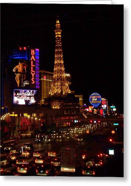The Strip At Night 2 Greeting Card by Anita Burgermeister