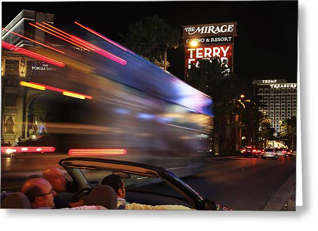The Strip At Night 4 Greeting Card by Don MacCarthy