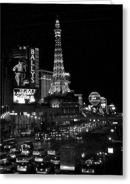 The Strip By Night B-w Greeting Card by Anita Burgermeister