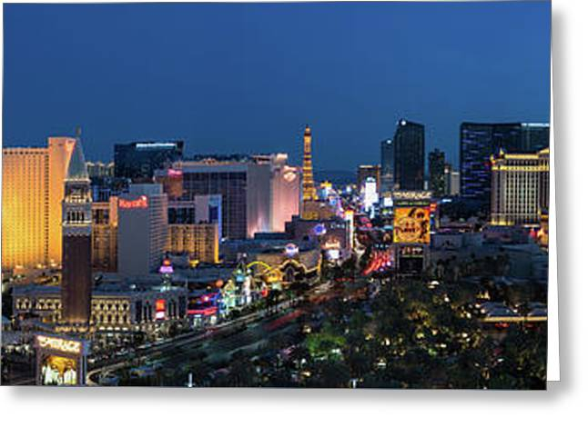 The Strip Las Vegas Dusk Greeting Card by Steve Gadomski