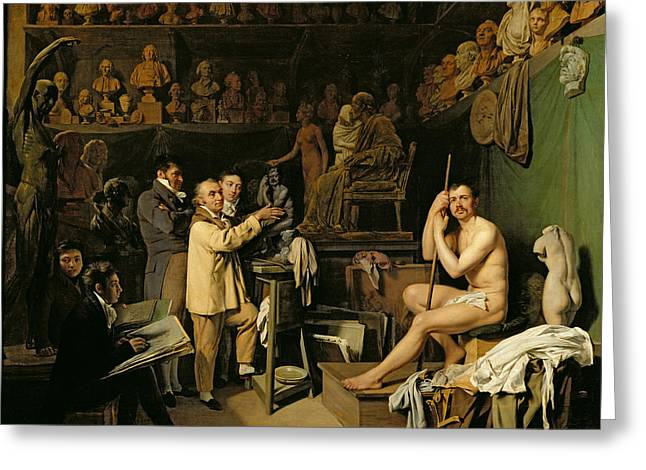 The Studio Of Jean Antoine Houdon Greeting Card by Louis Leopold Boilly