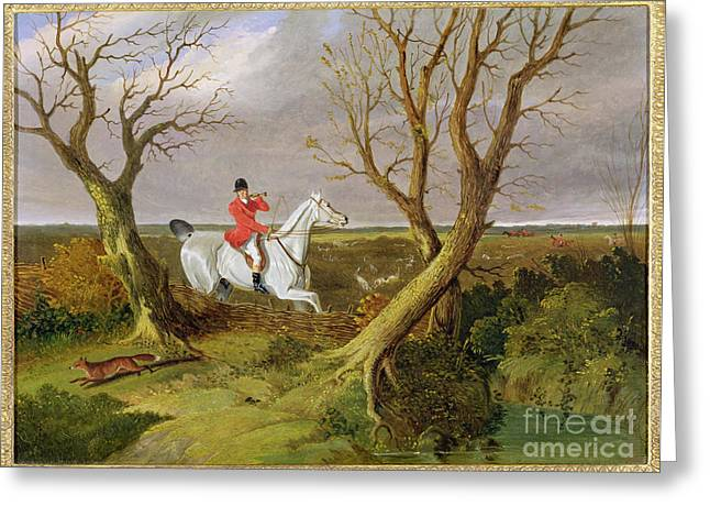 Herring Greeting Cards - The Suffolk Hunt - Gone Away Greeting Card by John Frederick Herring Snr