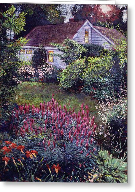 The Summer Evening Cottage Greeting Card by David Lloyd Glover