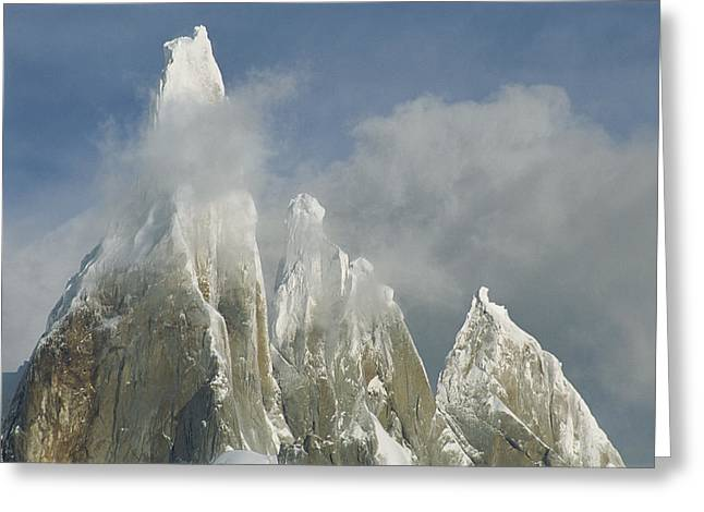 The Summit Of Cerro Torre Massif Rises Greeting Card by Jimmy Chin