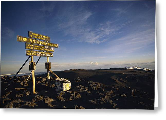 Mount Kilimanjaro National Park Greeting Cards - The Summit Of Mt. Kilimanjaro, Africas Greeting Card by Bobby Model
