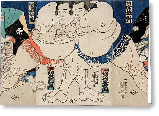 The Sumo Wrestlers Greeting Card by Utagawa Kuniyoshi