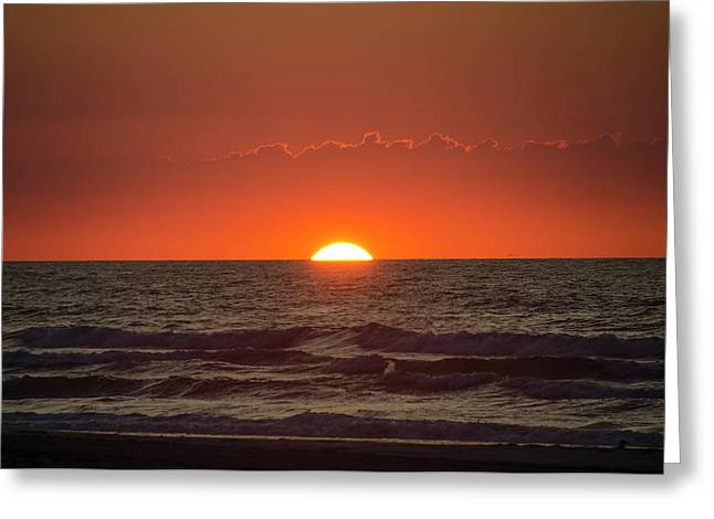 The Sun Coming Up Over The Ocean In Avalon New Jersey Greeting Card