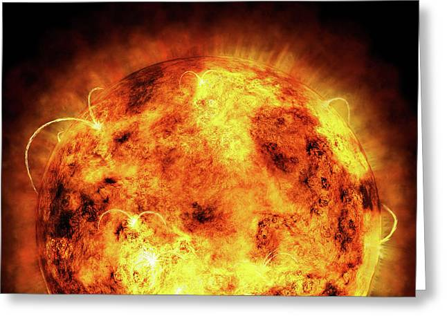 Temperature Greeting Cards - The Sun Greeting Card by Michael Tompsett
