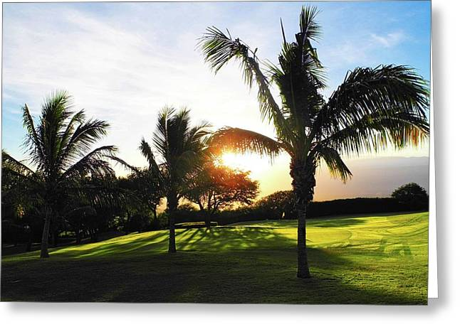 The Sun Rising Behind Haleakala Greeting Card by Kirsten Giving