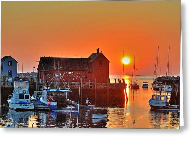 The Sun Rising By Motif Number 1 In Rockport Ma Bearskin Neck Greeting Card