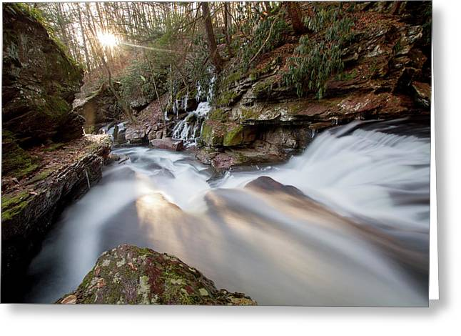 The Sun Sets On Van Campens Glen Greeting Card