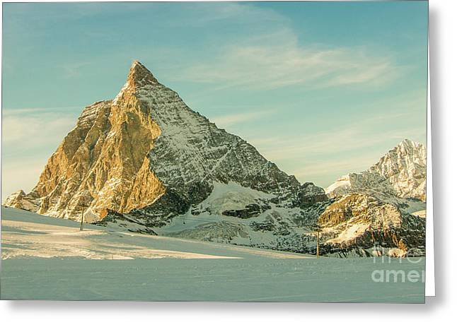 The Sun Sets Over The Matterhorn Greeting Card