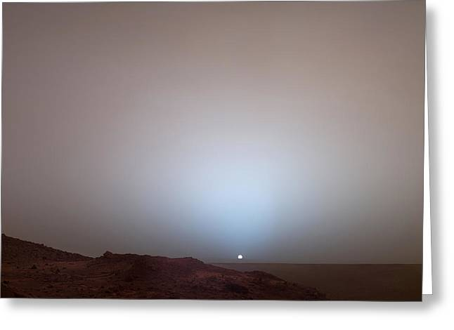 Solar Phenomena Greeting Cards - The Sun Setting Below The Rim Of Gusev Greeting Card by Nasa