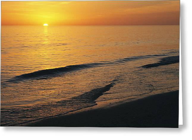 Solar Phenomena Greeting Cards - The Sun Sinks Into The Gulf Of Mexico Greeting Card by Klaus Nigge