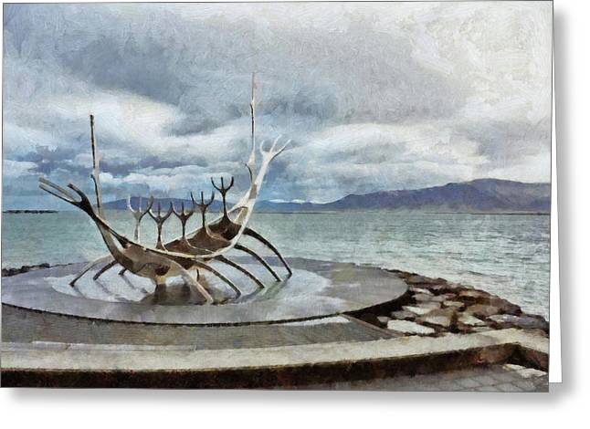 Greeting Card featuring the digital art The Sun Voyager by Digital Photographic Arts