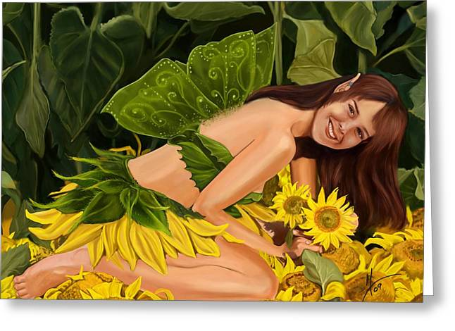 The Sunflower Fairy Greeting Card by Maggie Terlecki
