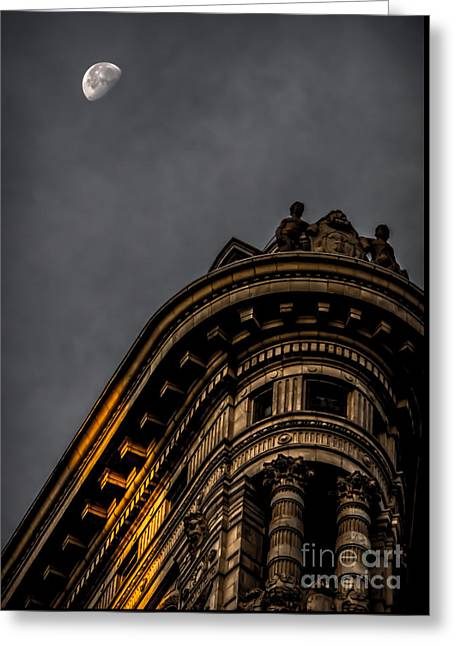 The Sunlight The Moon And The Flatiron Greeting Card by James Aiken