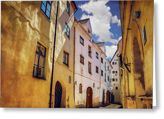 Greeting Card featuring the photograph The Sunny Streets Of Old Riga  by Carol Japp