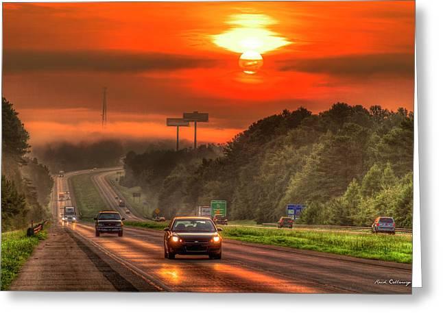The Sunrise Commute Georgia Interstate 20 Art Greeting Card