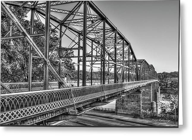 The Suns Glow Bw Walnut Street Pedestrian Bridge Art Chattanooga Tennessee Greeting Card by Reid Callaway
