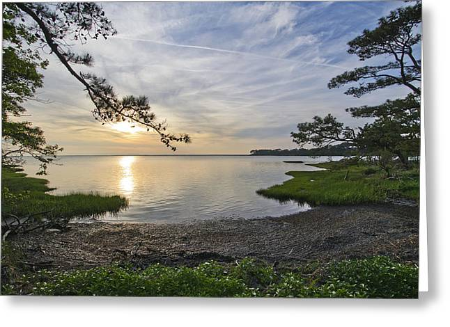 Reflection On Water Greeting Cards - The Suns Retreat - Assateague Island - Maryland Greeting Card by Brendan Reals