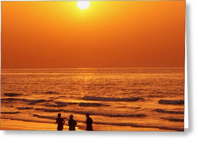 The Sunset Run Greeting Card by Sunaina Serna Ahluwalia