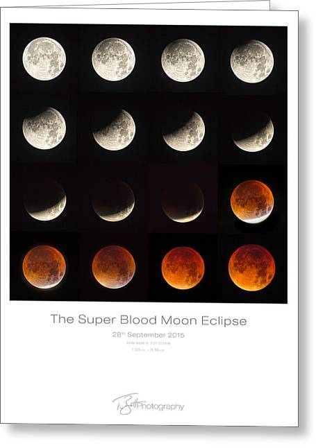 The Super Blood Moon Eclipse Greeting Card by Tim Booth