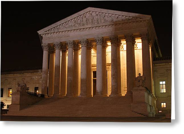 The Supreme Court Building At Night Greeting Card by Brian M Lumley