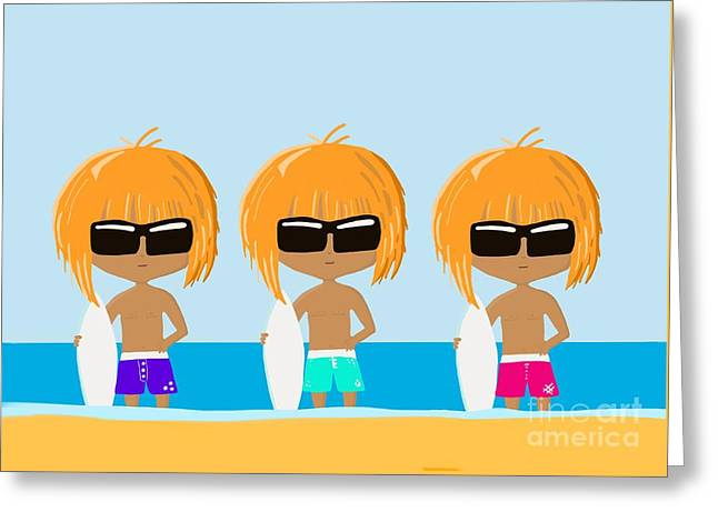 The Surfing Triplets Greeting Card