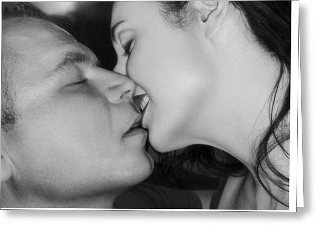 The Surreal Kiss Greeting Card by Jaeda DeWalt