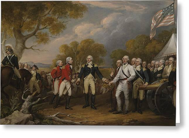 The Surrender Of General Burgoyne At Saratoga October 16 1777 Greeting Card by John Trumbull