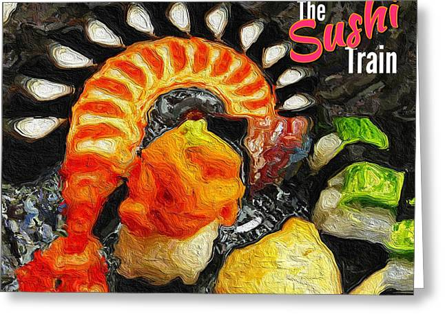The Sushi Train Greeting Card by ISAW Gallery